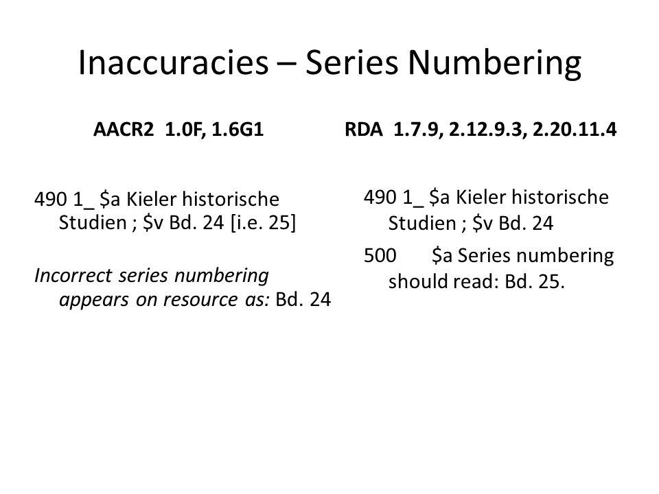 Inaccuracies – Series Numbering