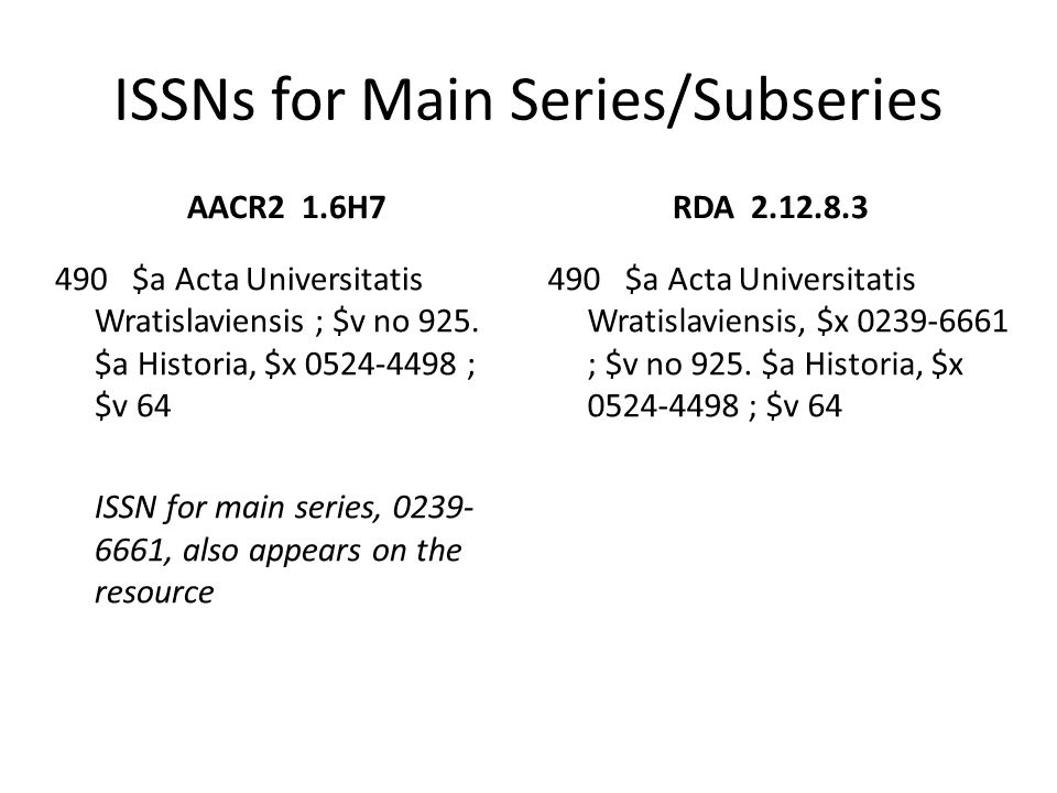 ISSNs for Main Series/Subseries