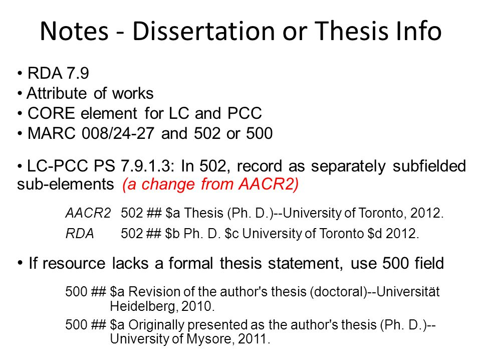 Notes - Dissertation or Thesis Info