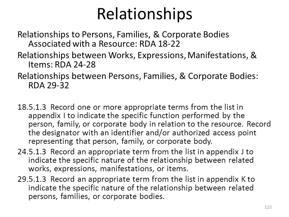 Relationships 4/2/2017. Relationships to Persons, Families, & Corporate Bodies Associated with a Resource: RDA 18-22.