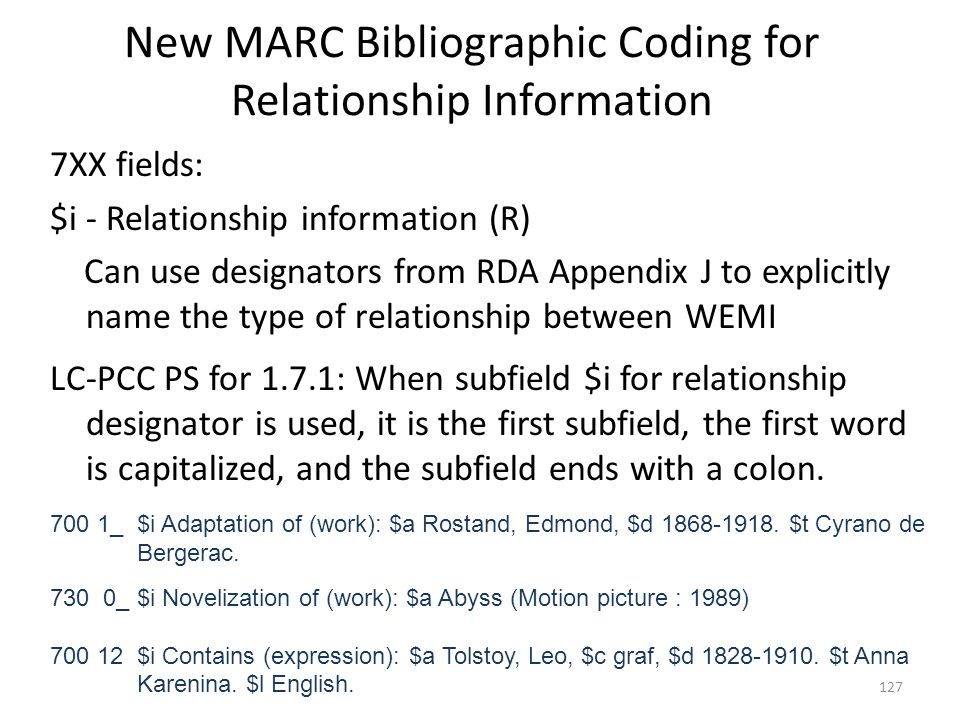 New MARC Bibliographic Coding for Relationship Information