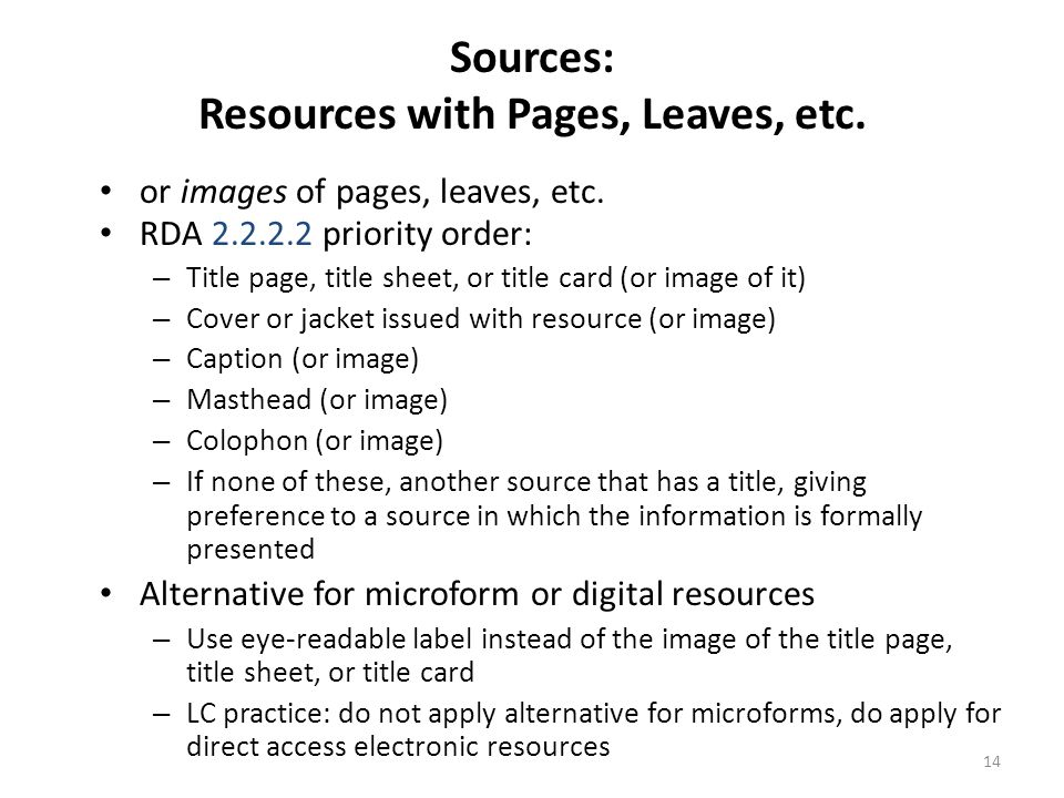 Sources: Resources with Pages, Leaves, etc.