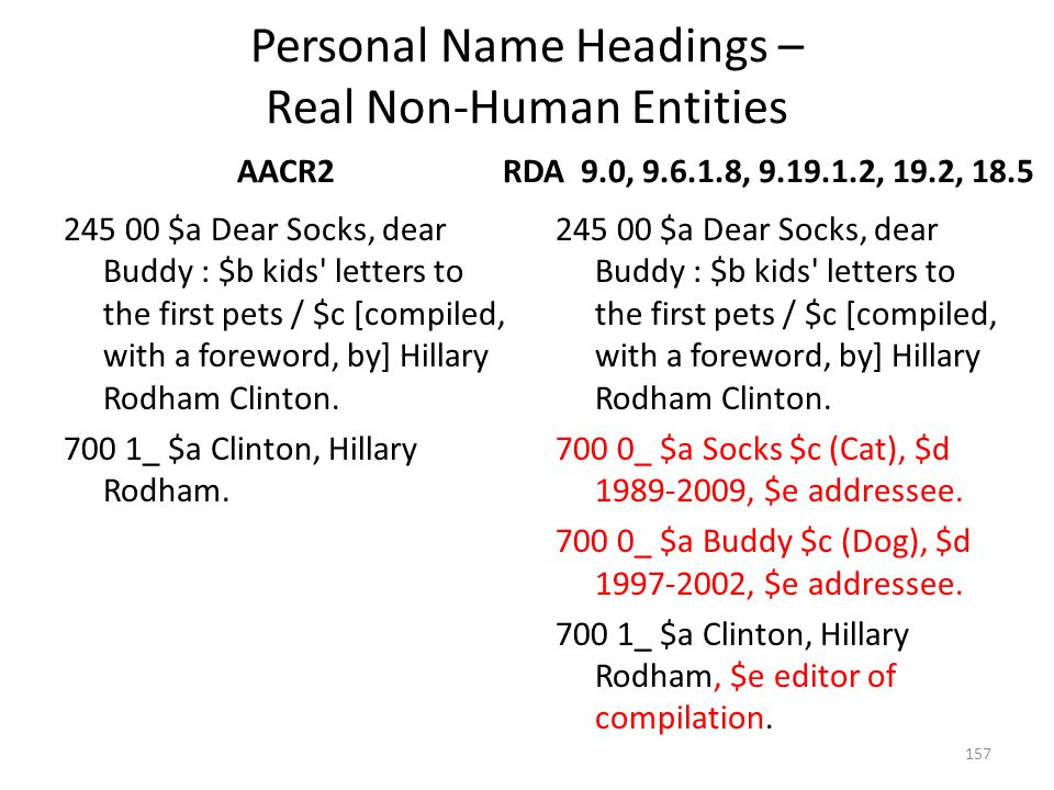 Personal Name Headings – Real Non-Human Entities