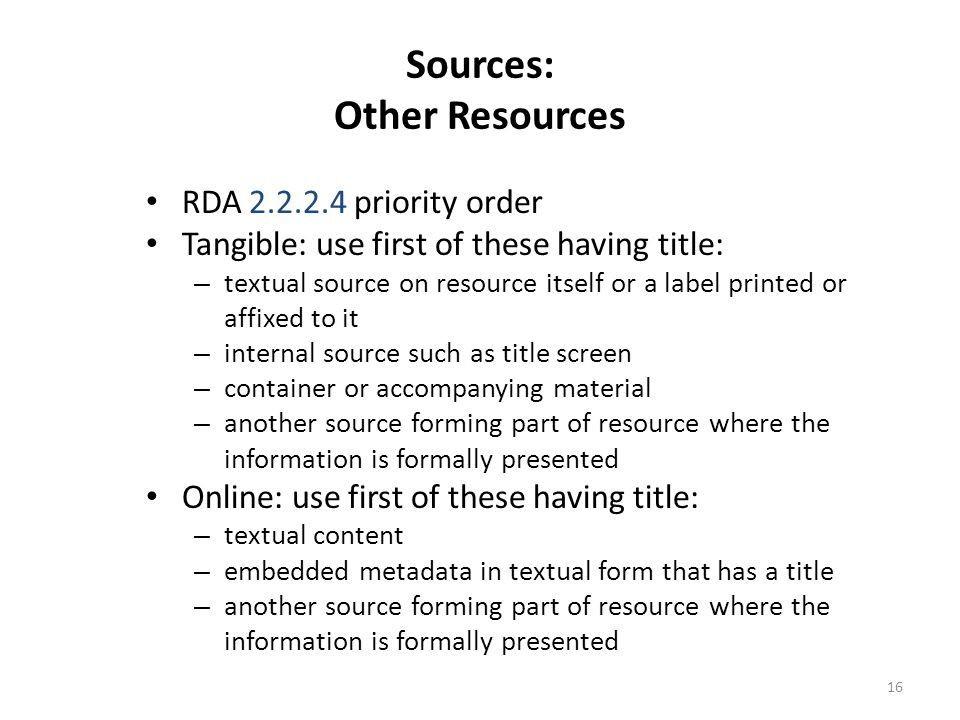 Sources: Other Resources