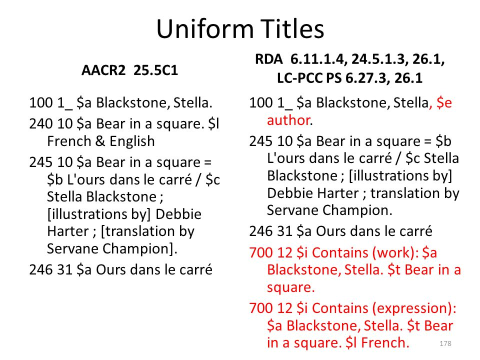 4/2/2017 Uniform Titles. AACR2 25.5C1. RDA 6.11.1.4, 24.5.1.3, 26.1, LC-PCC PS 6.27.3, 26.1.