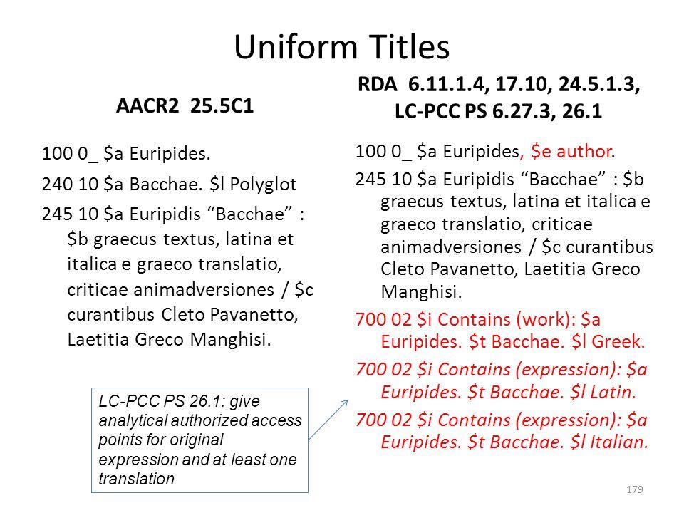 Uniform Titles RDA 6.11.1.4, 17.10, 24.5.1.3, LC-PCC PS 6.27.3, 26.1