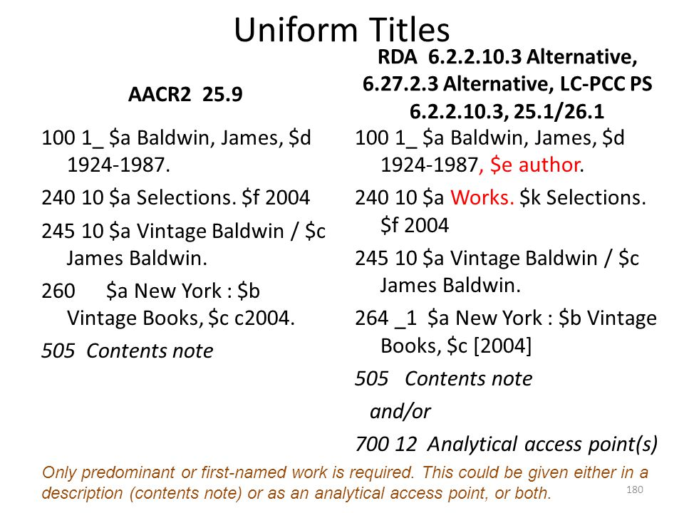 4/2/2017 Uniform Titles. AACR2 25.9. RDA 6.2.2.10.3 Alternative, 6.27.2.3 Alternative, LC-PCC PS 6.2.2.10.3, 25.1/26.1.