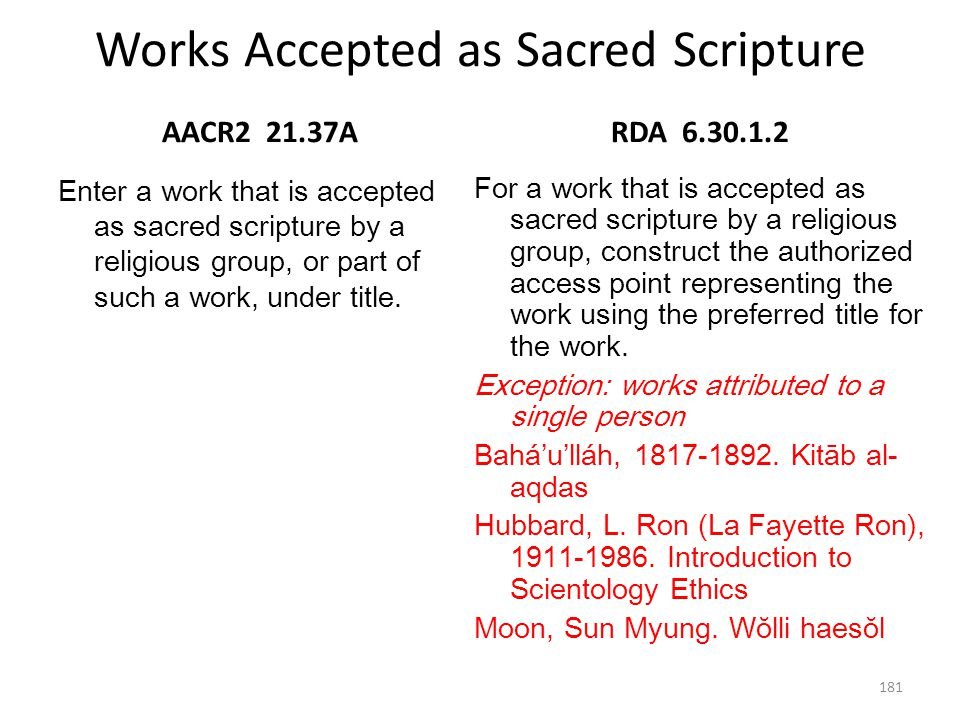 Works Accepted as Sacred Scripture