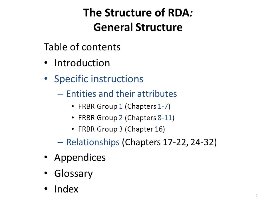 The Structure of RDA: General Structure