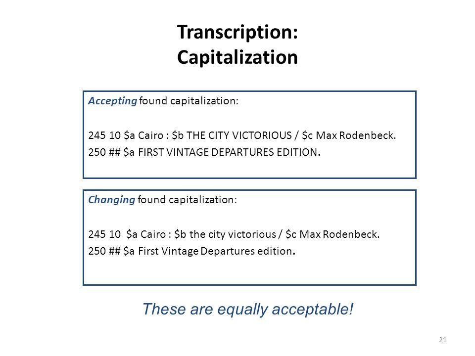 Transcription: Capitalization
