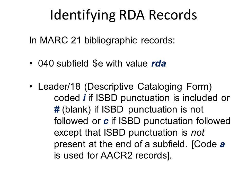 Identifying RDA Records