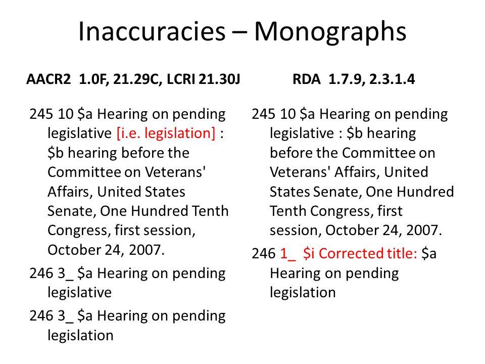 Inaccuracies – Monographs