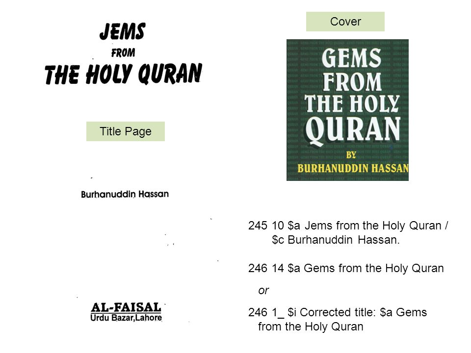 Jems from the Holy Quran / $c Burhanuddin Hassan.