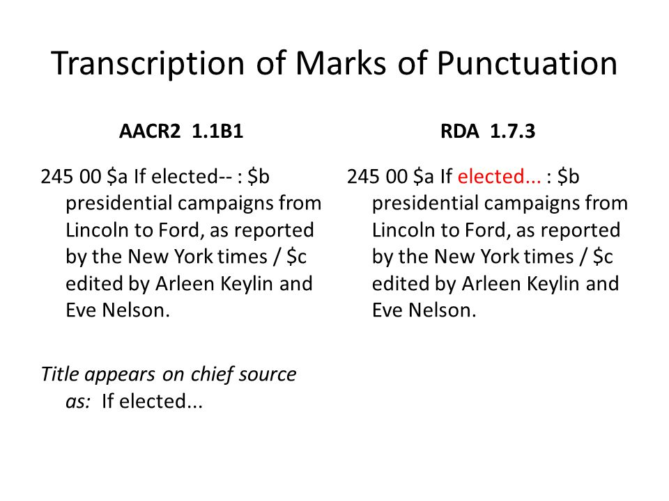 Transcription of Marks of Punctuation