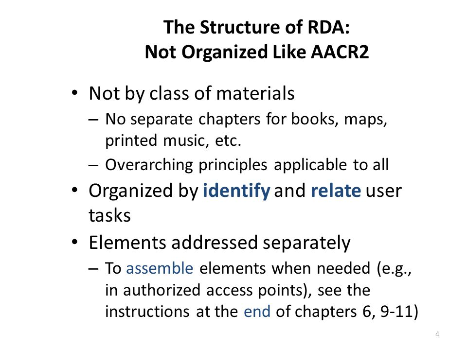 The Structure of RDA: Not Organized Like AACR2