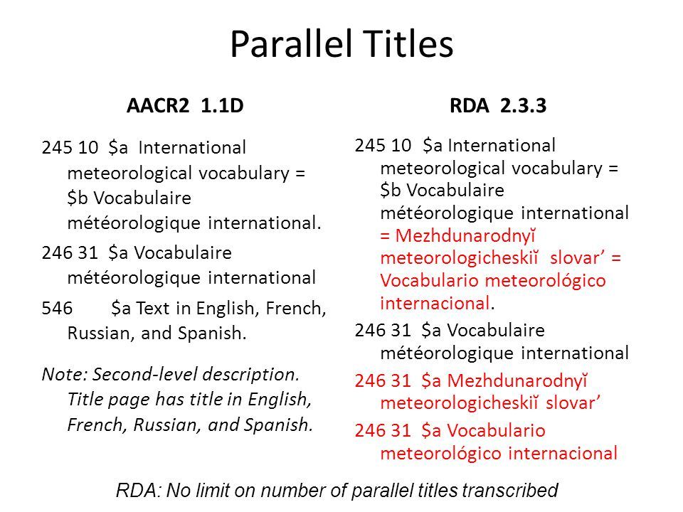 Parallel Titles AACR2 1.1D RDA 2.3.3