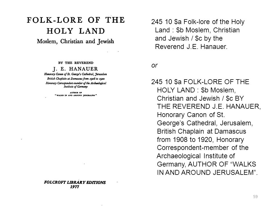 245 10 $a Folk-lore of the Holy Land : $b Moslem, Christian
