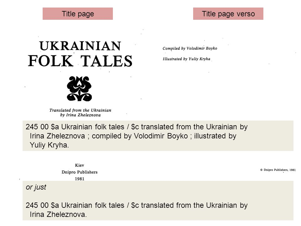 245 00 $a Ukrainian folk tales / $c translated from the Ukrainian by