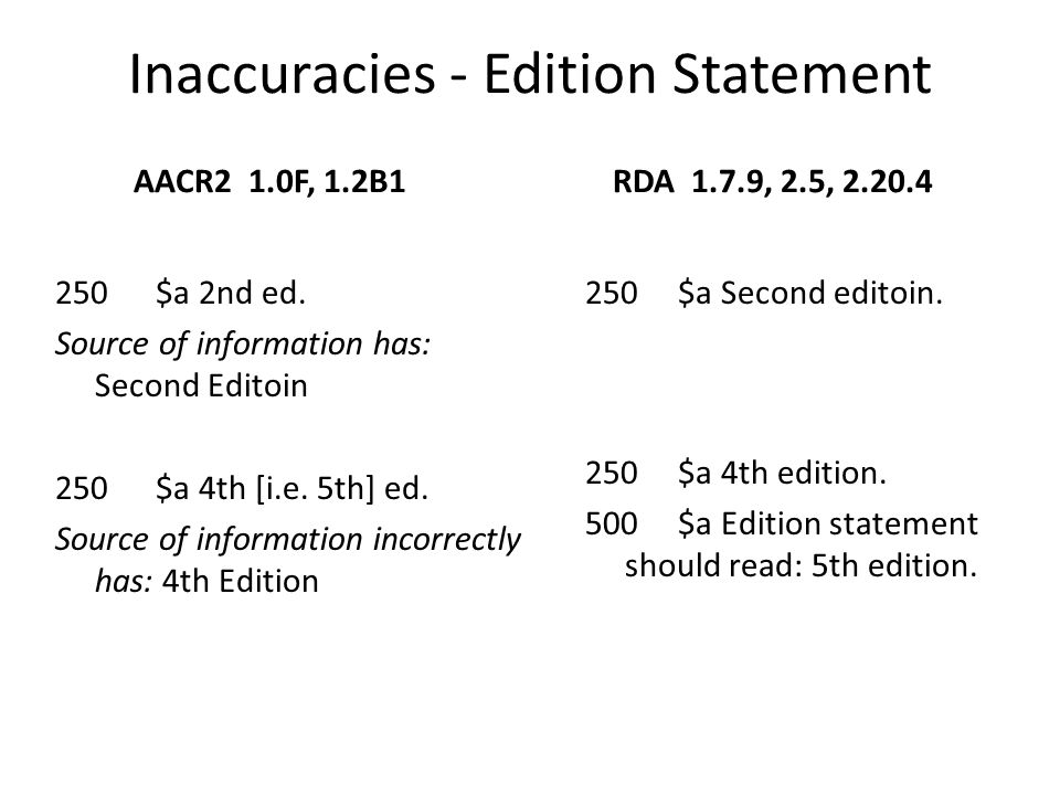 Inaccuracies - Edition Statement