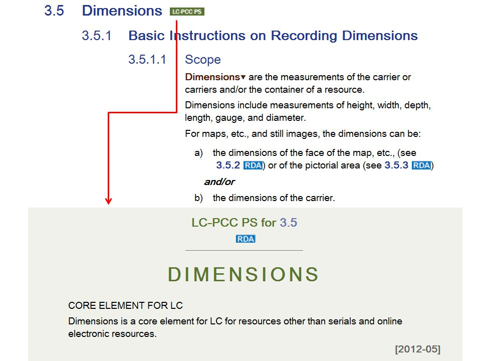 4/2/2017 Dimensions is not a core element in RDA, but it is for LC for resources other than serials and online electronic resources.