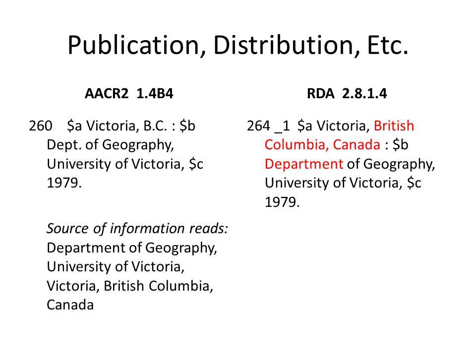 Publication, Distribution, Etc.