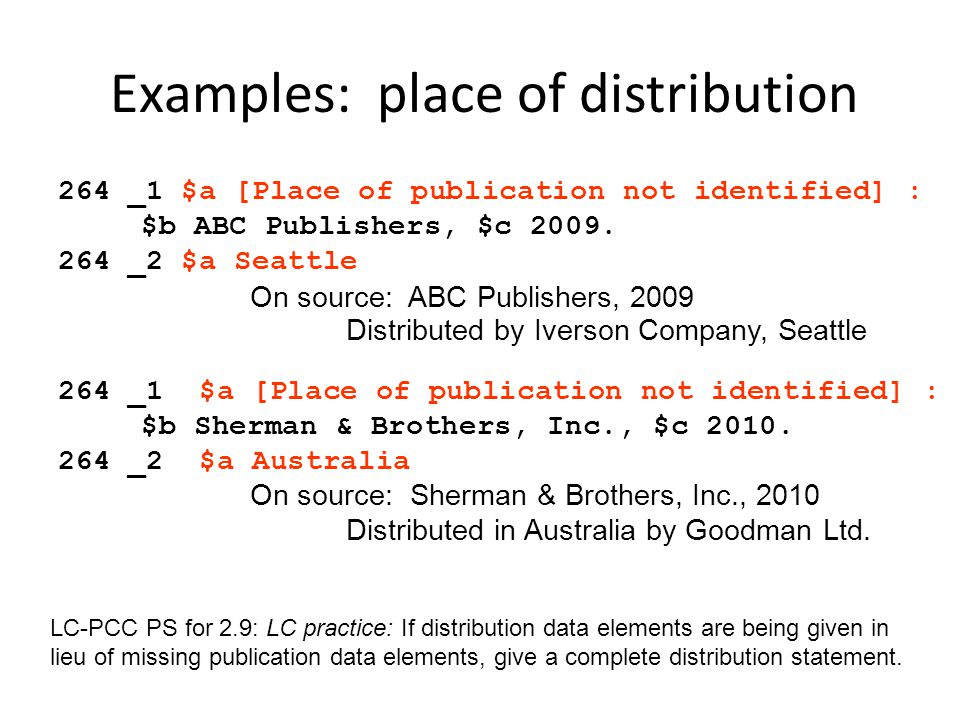 Examples: place of distribution