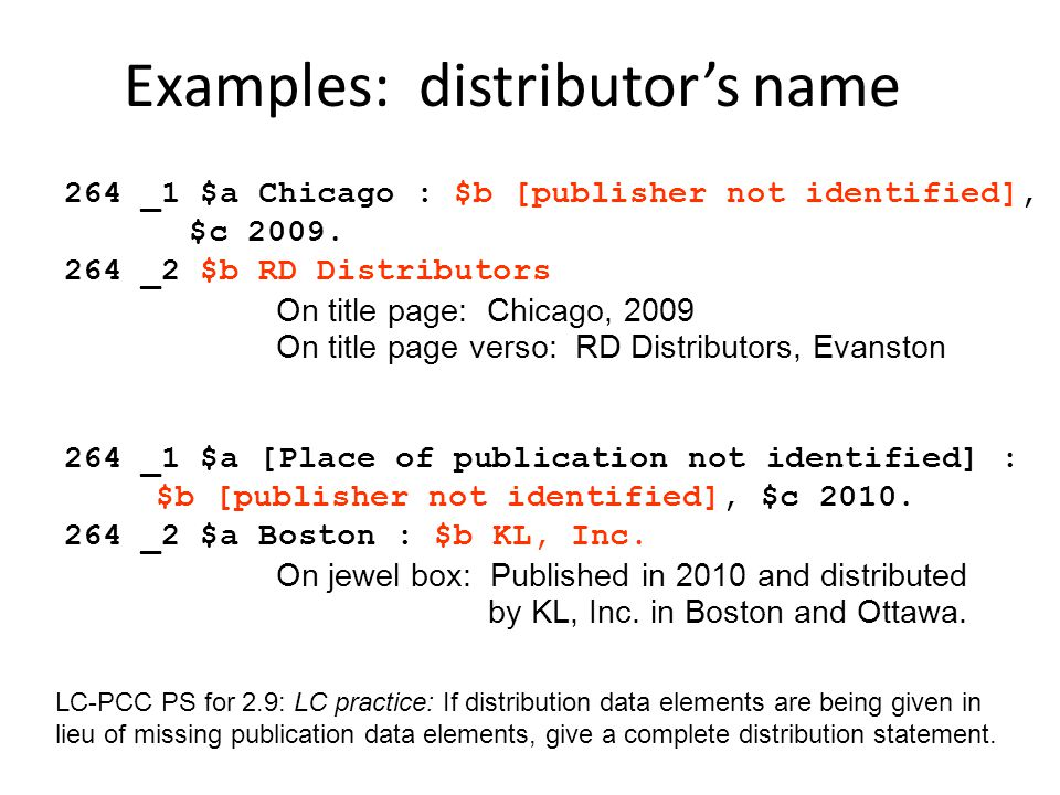 Examples: distributor's name
