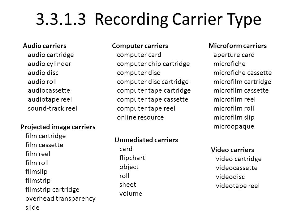 3.3.1.3 Recording Carrier Type