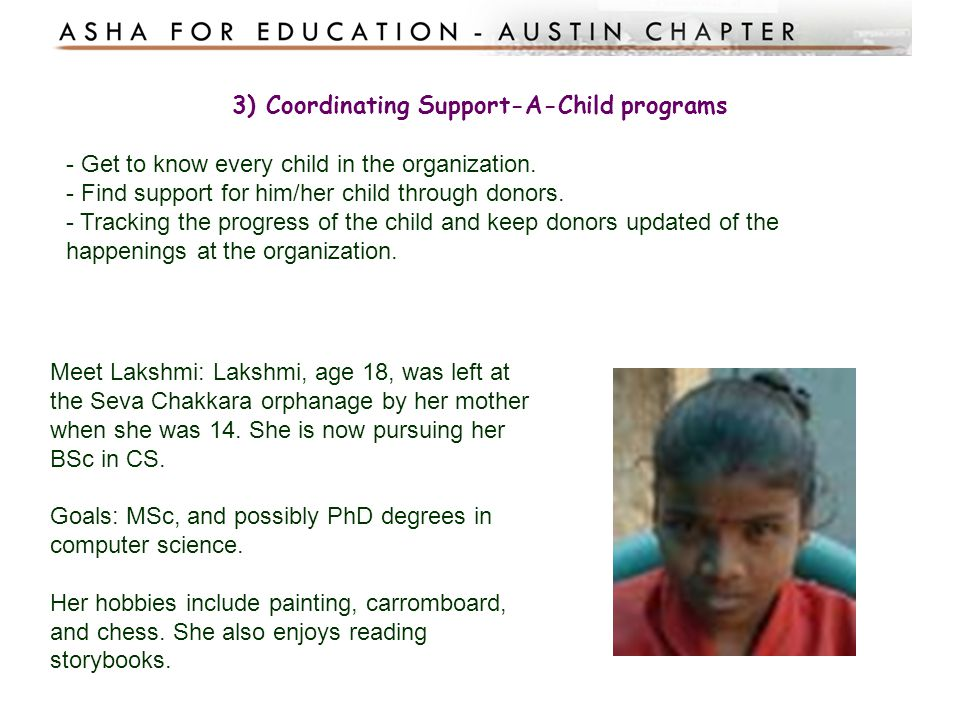 3) Coordinating Support-A-Child programs
