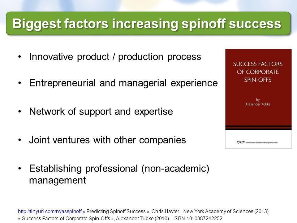 Biggest factors increasing spinoff success