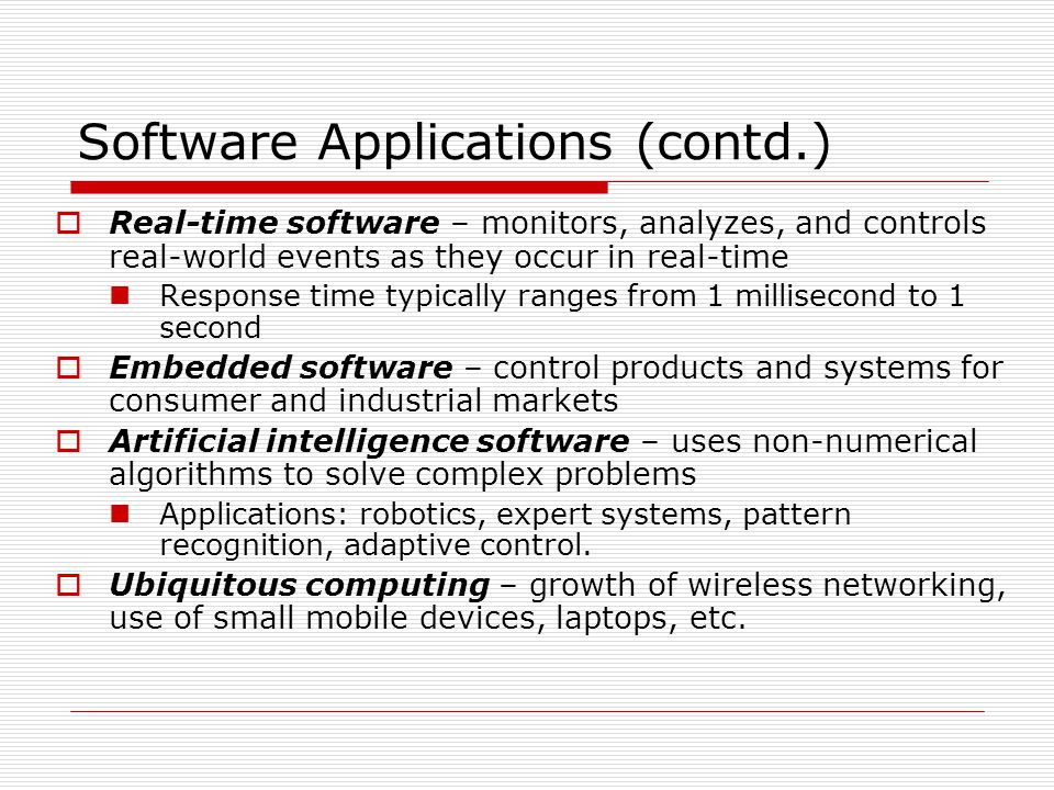 Software Applications (contd.)