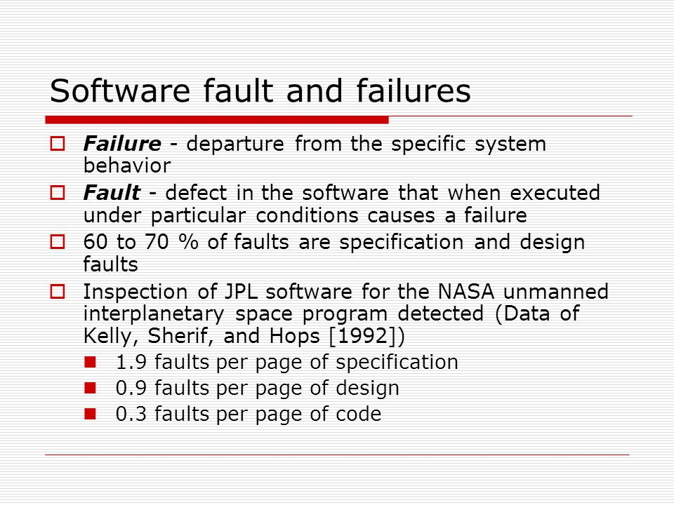 Software fault and failures