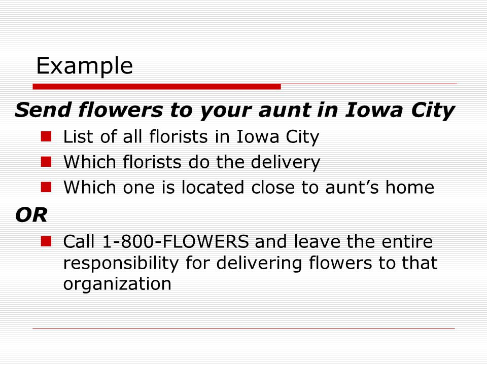 Example Send flowers to your aunt in Iowa City OR