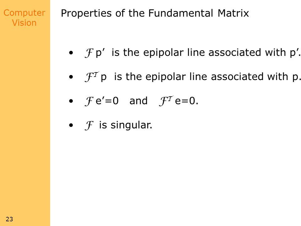 Properties of the Fundamental Matrix