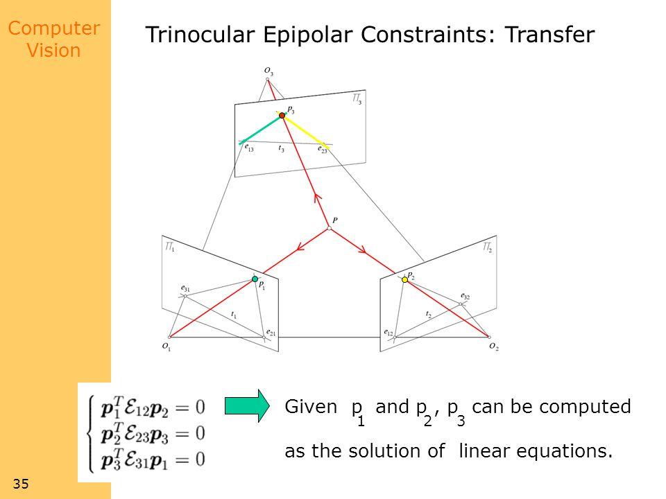 Trinocular Epipolar Constraints: Transfer