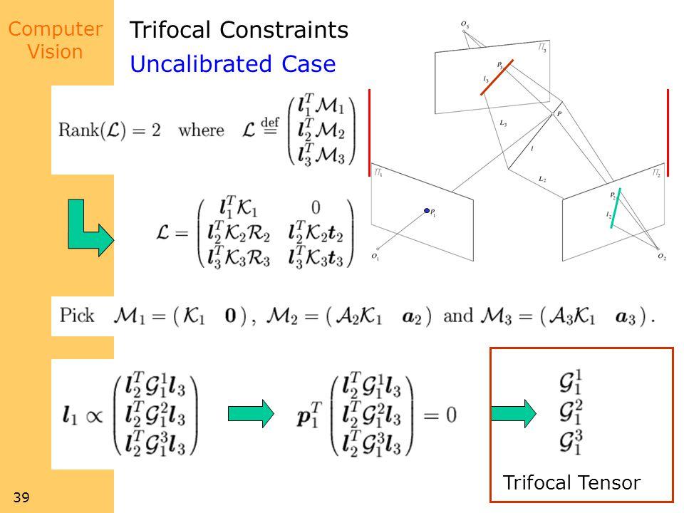 Trifocal Constraints Uncalibrated Case Trifocal Tensor