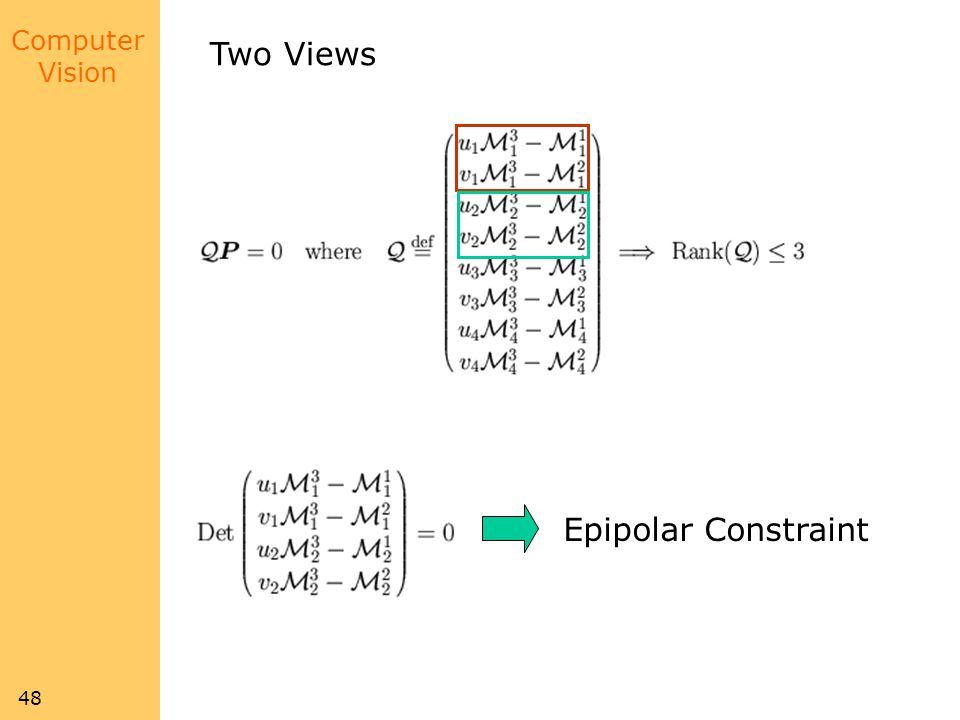 Two Views Epipolar Constraint