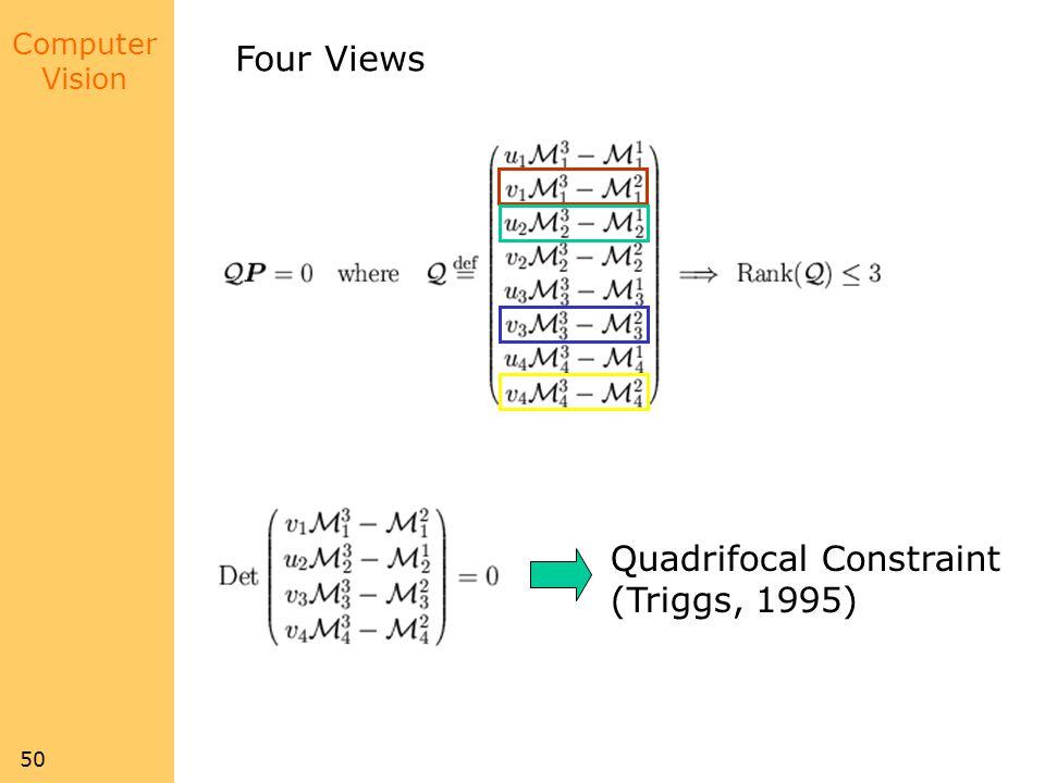 Four Views Quadrifocal Constraint (Triggs, 1995)