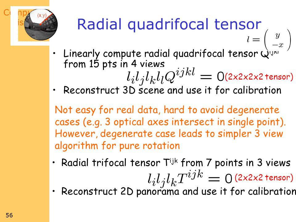 Radial quadrifocal tensor