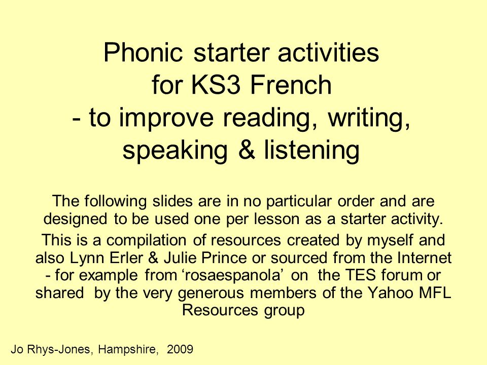Phonic starter activities for KS3 French - to improve reading, writing, speaking & listening