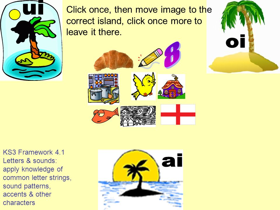 uiClick once, then move image to the correct island, click once more to leave it there. oi. 8.