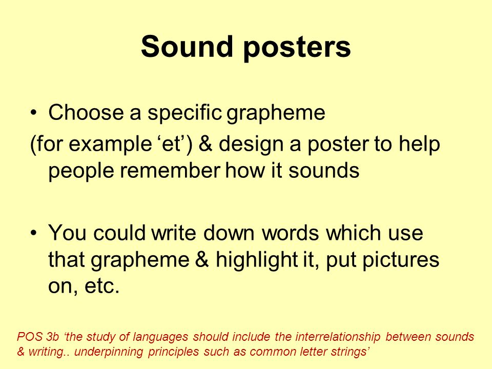 Sound posters Choose a specific grapheme