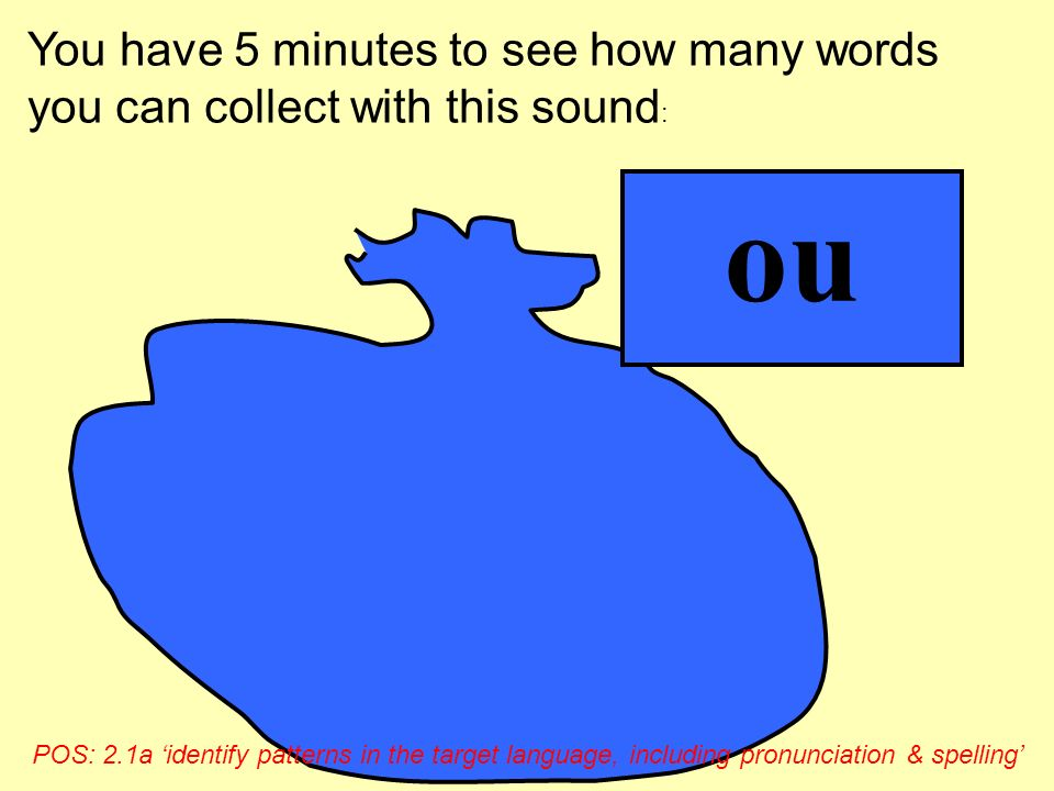 You have 5 minutes to see how many words you can collect with this sound: