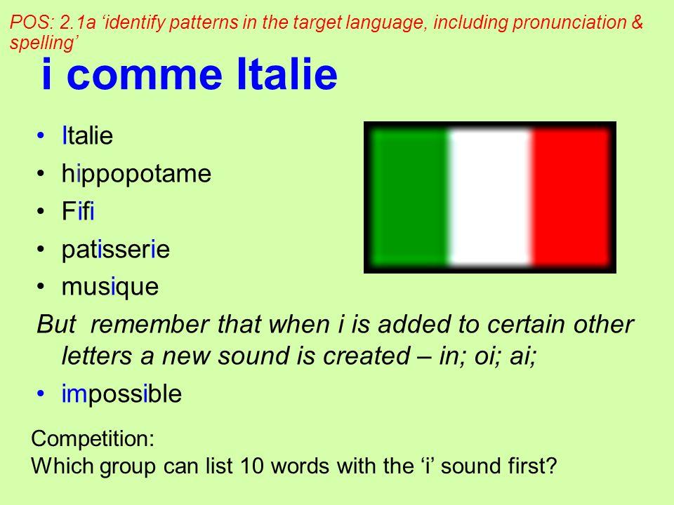 i comme Italie Italie hippopotame Fifi patisserie musique