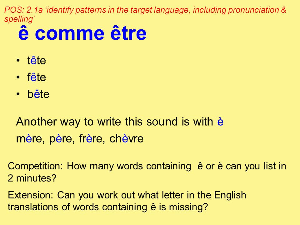 ê comme être tête fête bête Another way to write this sound is with è