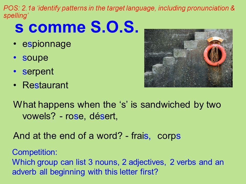 s comme S.O.S. espionnage soupe serpent Restaurant