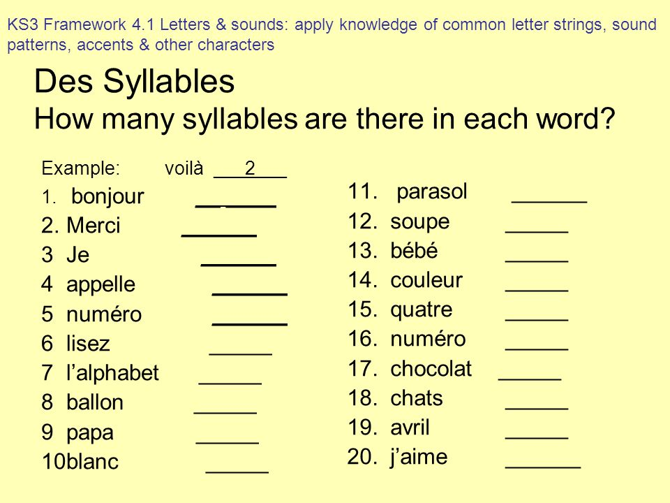 Des Syllables How many syllables are there in each word