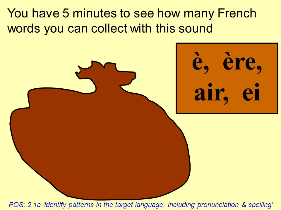 You have 5 minutes to see how many French words you can collect with this sound: