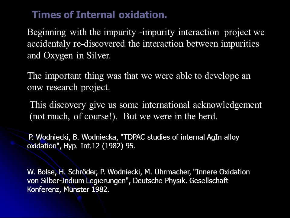 Times of Internal oxidation.