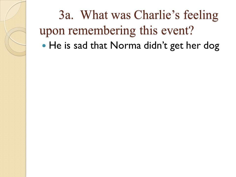 3a. What was Charlie's feeling upon remembering this event